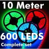 24v 10 meter 600 leds rgb ledstrip complete set smd 5050 ip20