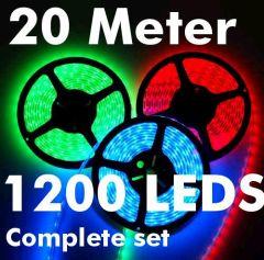 20 meter 1200 leds rgb ledstrip complete set smd 5050 ip65 288watt